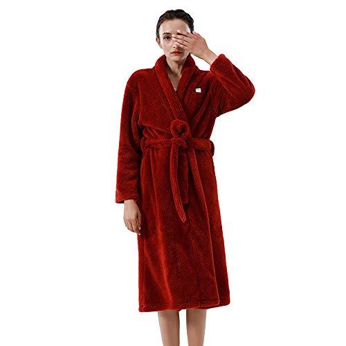 Albornoz para Hombre Y Mujer Bata De Lana De Coral Súper Suave Bata De Salón Bata Larga,Red(Women)-L/XL