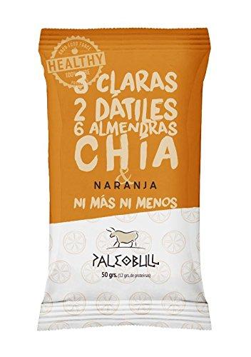 Barrita Energética Paleo 100% natural - Alta en proteínas - Almendras, Naranja y Chía (50g) - Pack Ahorro de 15 Barritas