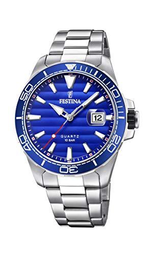 Festina Herren Analog Quarz Uhr mit Edelstahl Armband F20360/1