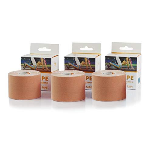 KK Kinesiologie Tape | 3 Rollen | KinTape | Verschiedene Farbvarianten | 5 cm x 5 m (3 x Haut)