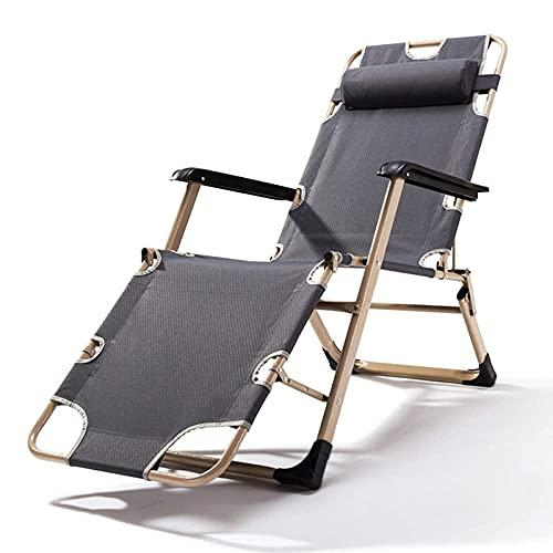 KTDT Tumbonas Sillas reclinables de jardín Plegables Zero Gravity para Acampar al Aire Libre, Playa, tumbonas portátiles reclinables, aptas para Espacios pequeños, máx.250 kg, Gris-A