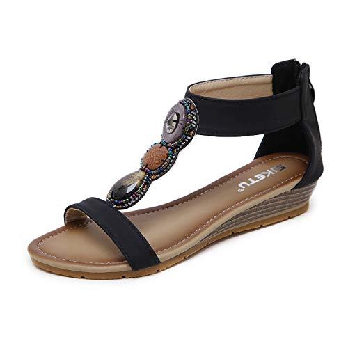 ZAPZEAL HAINE Damen Sandalen, Frauen Sommer Bohemia Sandals, Beach Elastische Schuhe in, 37 EU, Schwarz