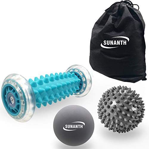 SUNANTH Foot Massager Roller,Massage Lacrosse Ball,Spiky Ball Therapy Set for Relieve Plantar...