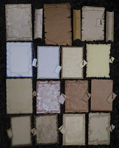 15 unterschiedliche Schriftrollen + Bändchen & Etiketten, 3 Kissenschachten. Mittelalter Briefpapier, Grußkarten, Geburtstagskarten