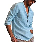 Axiamoncha - Camiseta de manga larga para hombre, de algodón, diseño casual, corte holgado, color liso, azul, XL