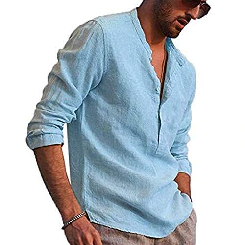 Carolilly Camicia da Uomo Manica Lunga in Lino di Cotone con Bottoni Camicia Uomo con Collo in Piedi Tinta Unita Magliette Larghe Casual da Spiaggia Hippie
