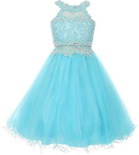 Little Girls Sparkle Rhinestones Halter Lace Junior Bridesmaid Pageant Flower Girl Dress Aqua 4 (C50C40C)