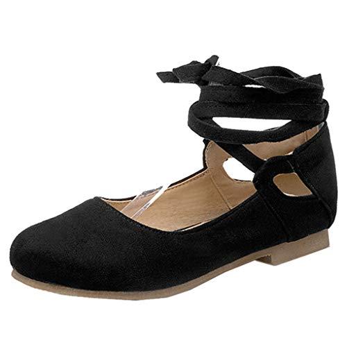 Femany Damen Flache Pumps mit Riemchen Ballerinas zum Schnüren Bequem Elegant Schuhe (Schwarz,40)