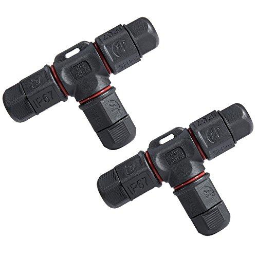 Kabel Verbindungsbox T-Form, Meersee IP67 Verbindungsmuffe 3-polige Anschlussdose für Kabeldurchmesser Ø3mm-10.5mm, 2er-Pack schwarz