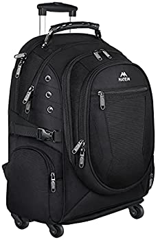 Rolling Backpack Matein College Wheeled Backpack for Women Men Roller School Backpack for Girls Boys Adults Travel Laptop Backpack with Removable Wheels Business Bag fit 15.6 inch Notebook Black
