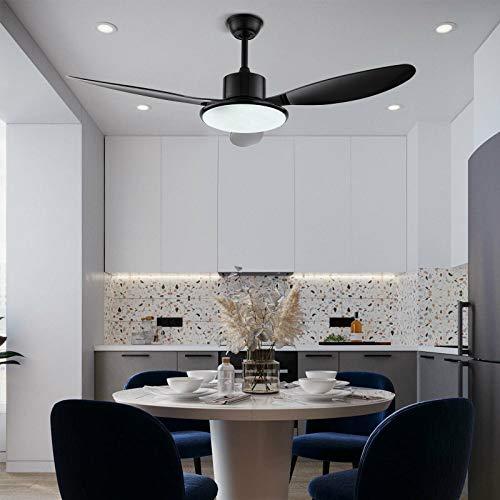 Ventilador de techo con una sola lámpara y tres aspas, 48 pulgadas, ventilador de techo regulable con iluminación y mando a distancia