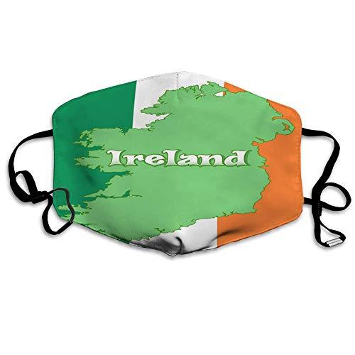 Karte von Irland und Flagge von Irland Männer Frauen Atmungsaktive Bequeme Gesichtsschutzhülle mit Gummiband für die persönliche Gesundheit Verschiedene Verwendung