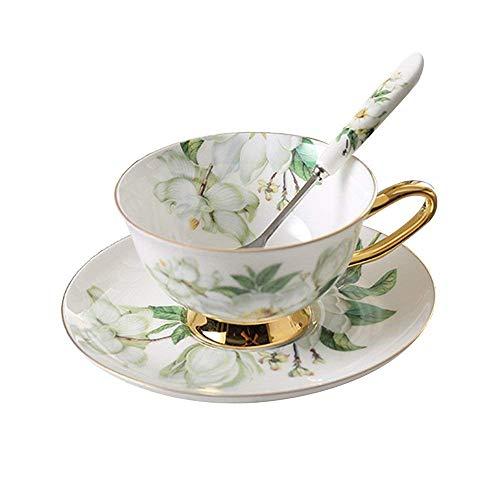 Porzellan Keramik Tee-Tasse Kaffeetassen mit Untertassen, Kamelie, Weiß Und Grün