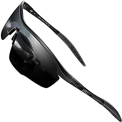 ATTCL Sports Polarized Sunglasses for Men Women Fishing Driving Golf Cycling Metal Frame 8700 Black