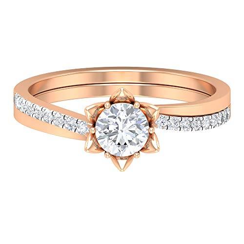 Anillo de compromiso de flor, Anillo de boda antiguo, HI-SI 0,64 ct Solitario Moissanite Anillo, Anillo de aniversario para mujeres, anillo de declaración, 10K Oro rosa, Size:EU 59