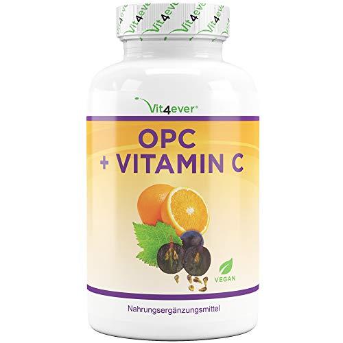 OPC Traubenkernextrakt + Vitamin C - 1050 mg pro pro Tagesdosis (2 Kapseln) - Laborgeprüftes Premium OPC aus europäischen Weintrauben - Hochdosiert - Vegan