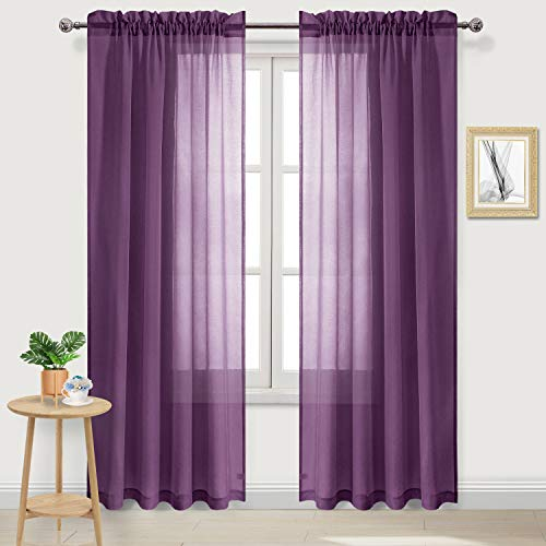 DWCN Purple Sheer Curtains Semi Transparent Voile Rod Pocket Curtains for Bedroom and Living Room, 52 x 84 inches Long, Set of 2 Panels