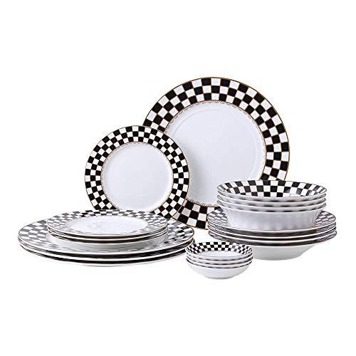 Porlien Checker Pattern 20-piece Round Dinnerware Set for 4, Bone...