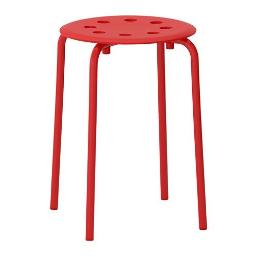 Ikea Marius Hocker in rot; stapelbar; (45cm)