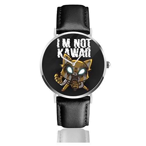 Aggretsuko Not Kawaii - Reloj de cuarzo para hombre y mujer, unisex, correa de piel negra