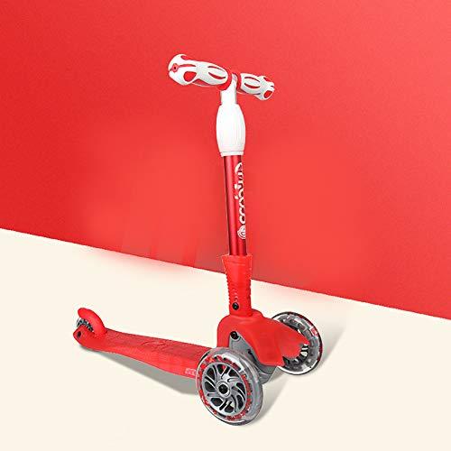 Scooter para niños, scooter con luz LED, scooter para niños con luces LED de 3 ruedas, manillar ajustable para inclinarse hacia la dirección, plataforma extra ancha, para niños y niñas de 1 a 12 año