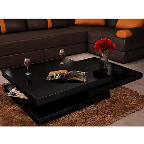 Mesa de café, mesa auxiliar, sofá, mesa auxiliar, mesa de café, 3 niveles, color negro brillante