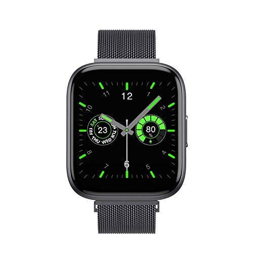 Aliwisdom Smartwatch für Herren Damen, 1,55 Zoll Screen Bluetooth Telefonie Sportuhr Wasserdicht Fitness Tracker für iOS Android, Mit Bluetooth-Anruf & Intelligente Erinnerungsfunktion (Schwarz)