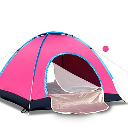 LIBWX Automatic Camping Outdoor Pop-up Tent, for Camping, Outdoor, Garden, Fishing, Picnic,Pink,3/4person+22pad