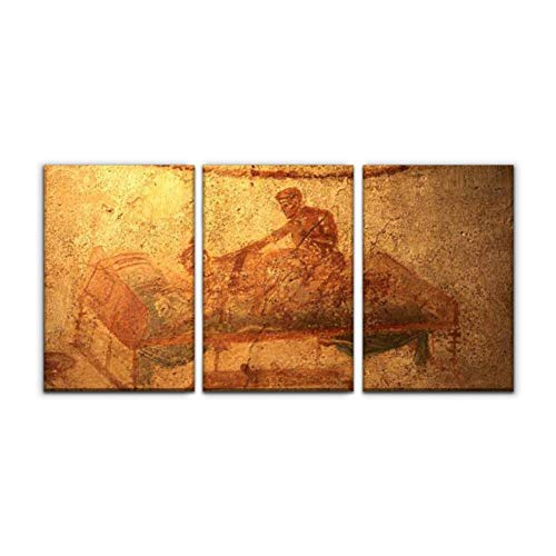 "Gracelapin Modern Canvas Painting Erotic Fresco in Pompei, Italy pompeiis and Pictures Wall Art Artwork Decor Printed Oil Painting Landscape Home Office Bedroom Framed Decor (16""x24""x3pcs)"