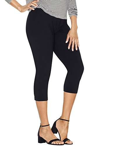 Just My Size Women`s Stretch Cotton Capri Leggings, Q88908, 3XL, Black