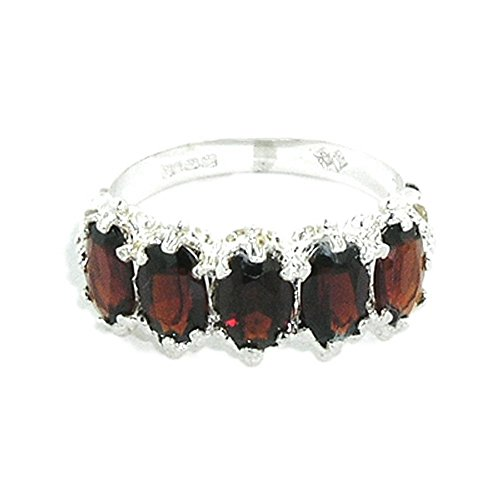 LetsBuyGold 18ct 750 White Gold Natural Garnet Womens Eternity Ring - Size J - Sizes J to Z Available