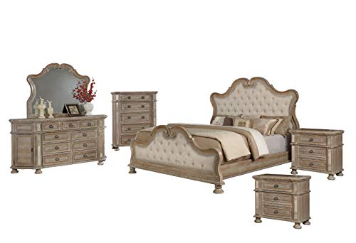 Amazing Deal Best Quality Furniture Catalina 6PC Eastern King Bed + Dresser + Mirror + 2 Nightstands + Chest, Rustic Pecan