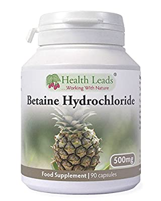 Betaine HCL (Hydrochloride) 500mg 90 Capsules, Suitable for Vegans & Vegetarians, for The Stomach, Magnesium Stearate Free & No Nasty Additives, Made in Wales