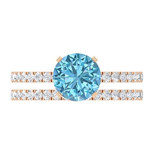 Rosec Jewels 14 quilates oro rosa Round Brilliant Blue Moissanite Aquamarine