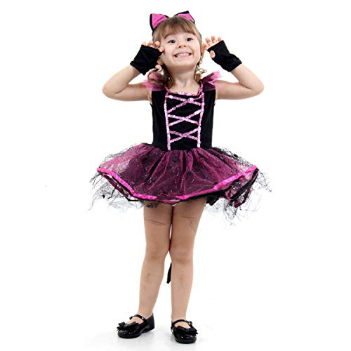 Fantasia Bruxa Gatinha Infantil 23389-P Sulamericana Fantasias Preto/Rosa P 3/4 Anos