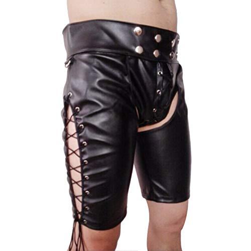 JQJPJOSIE Pantalones de Cuero para Hombres Pantalones de Cuero Ajustados Lencería Sexy Pantalones Inferiores Pantalones de Archivos Abiertos