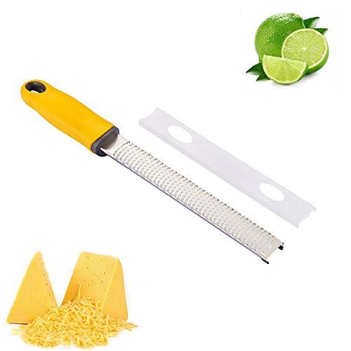 Jsdoin, grattugia gialla in acciaio inox, adatta a cioccolato, zenzero, formaggio, limone, noce moscata, aglio ecc. con coperchio protettivo e facile da pulire.