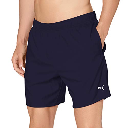 PUMA Mens Men's mid-Length Swim Hidden Drawcord Board Shorts, Navy, L