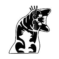 ベルビューティーフラワー 12.5 * 14.3CMおかしい頭傾け猫カースタイリングステッカー車のフロントガラス装飾用ステッカーブラック/シルバーC4-0397 (Color Name : Black)