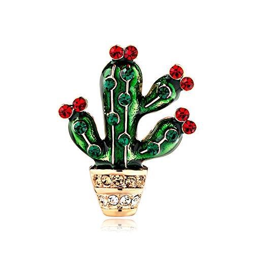 PegTFofclothes Damenschmuck legierungs-Tropfen-Öl-Grünpflanze-Kaktus-Brosche