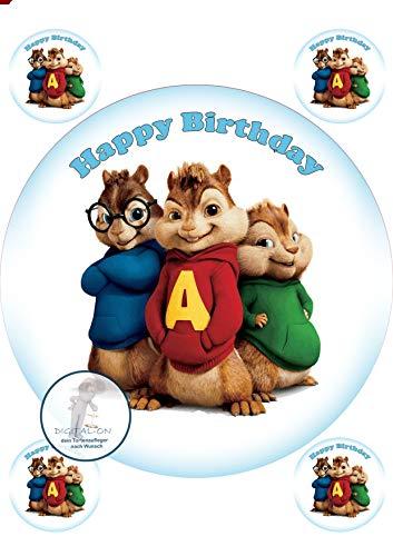 Alvin und die Chipmunks, Essbares Foto für Torten, Tortenbild, Tortenaufleger Ø 20cm - Super Qualität, 0053w