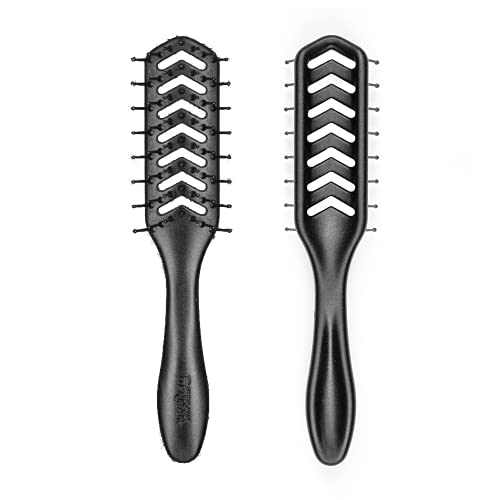 Denman Flexible Vent Brush D200 - Detangling Brush With Lightweight Grip & Control – Perfect For Styling During Blow-Dry & Detangling Wet & Dry Hair – Black