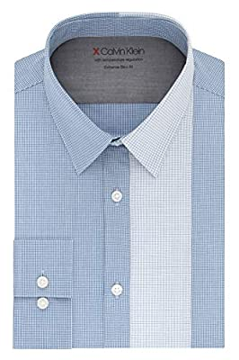 Calvin Klein Men's Dress Shirts Xtreme Slim Fit-Thermal Stretch Plaid