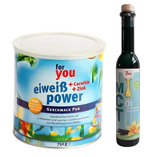 for you Power Eiweiß Pur + MCT-Öl Vanille im Set I 1x 750g Fitness Eiweisspulver mit Carnitin Whey-Protein Sojaprotein Milchprotein I 1x 250ml MCT Öl vegan auf Basis 100% Kokosöl