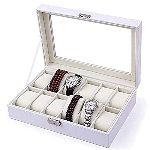 HUAHUA Watch Bander Box Caja de la caja caja de reloj de los relojes de la colección de almacenamiento 12 de almacenaje de la exhibición de la caja blanca Bandeja pulsera de imitación de cuero con cie
