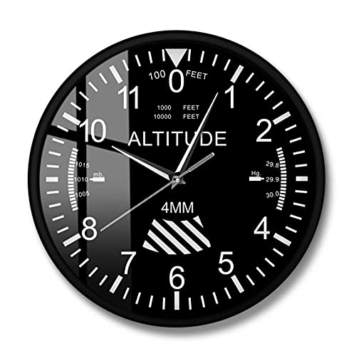Altímetro Reloj de Pared Seguimiento Piloto Avión Medición de altitud Reloj de Pared Moderno Instrumento clásico Decoración del hogar Regalo de aviación-Metal Frame