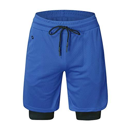 FRAUIT Multifunktionale Sporthose Herren Jogginghose 2 in 1 Kurze Hose Laufshorts Schnell Trocknende Fitness Joggen Gym Trainingsshorts mit Tasch