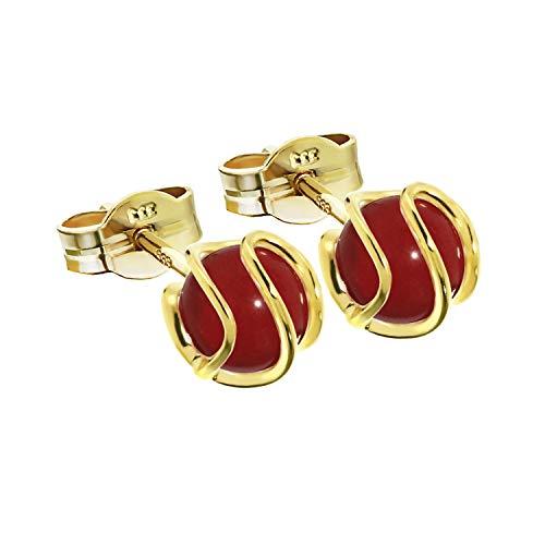 NKlaus Paar Kugel Ohrstecker 333 Gold gelbgold Sphäre reck. Koralle Ohrringe 7mm Damen 7757