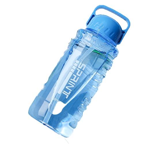YIXINYOUPIN Taza de agua unisex de gran capacidad respetuosa con el medio ambiente con taza reutilizable de pajita azul 1000 ml