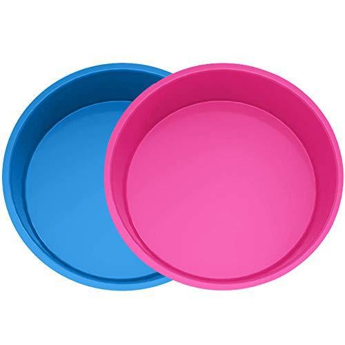 Miotlsy Silikon Backform Rund, 2pcs Kuchenform 20 cm Rund, Antihaft- & schnell abgelöstes Backformen Set für Schichtkuchen, Käsekuchen, Regenbogenkuchen und Chiffonkuchen